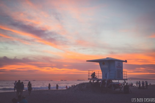 huntington beach sunset lifeguard tower california
