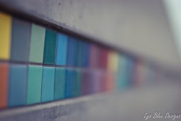 colored tiles - photo of colored tiles - shallow depth of field - bokeh - fine art photography - wall