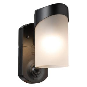 Contemporary Smart Security Black Metal and Glass Outdoor Light Fixture w/ Camera