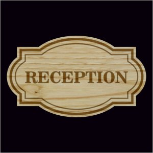 ξύλινη ταμπέλα RECEPTION