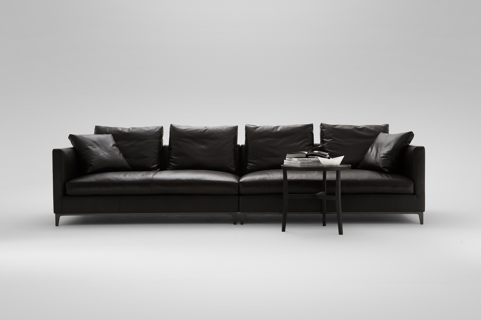 crescent sofa camerich 1005c contemporary black and white leather sectional lytle pressley