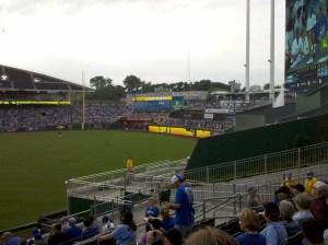 View of left field at Kaufmann Stadium.