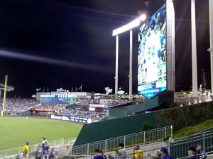 Scoreboard in center field.
