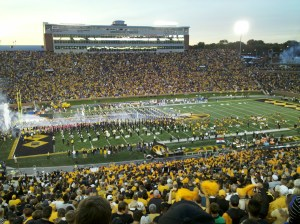 Pandimoniam reigns supreme as the Tigers run onto the field before kickoff.