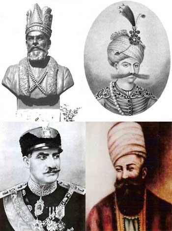 شاه عباس بزرگ، نادرشاه افشار، کریمخان زند، و رضاشاه بزرگ، از چهار انسان های فرهییخته، چمار فرمانروای ایرانی، از نجات دهندگان ایران، ایران از دست رفته، و کسانی که گوهر درخشان تاریخ ما می باشند. این بزرگواران، هویت و فرهنگ ایرانی را فدای اسلام متجاوز، و معتقدات خود نکردند. این ها به راستی ایرانی مسلمان بودند، و باعث افتخار هر ایرانی پاک اندیشند.