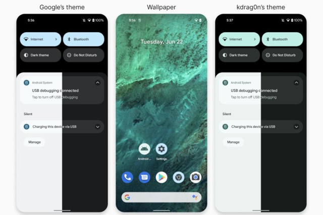 Google's Material You wallpaper vs. Danny Lin's - Developer recreates Android 12's Material You wallpaper theme, and it's even better