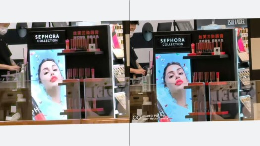 From the video above - the Huawei P50 is able to take a 10x digitally-zoomed photo (left) and magically turn it into a 16MP 10x photo (right) that rivals 10x optical zoom cameras. - Huawei P50 Pro camera samples: iPhone & Galaxy slayer with unseen zoom