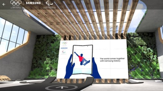 The Galaxy Z Fold 3 appears in the virtual Samsung Media Center - Samsung leaks image of Galaxy Z Fold 3 in virtual Media Center for the Tokyo Olympics