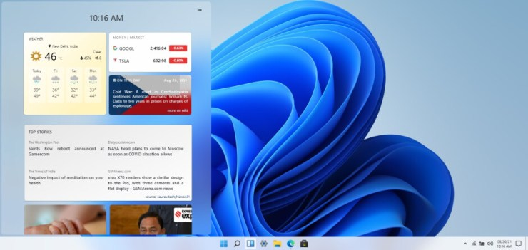 The Windows 11 widget screen as replicated in this simulation - Try out the new Windows 11 interface right on your phone or tablet