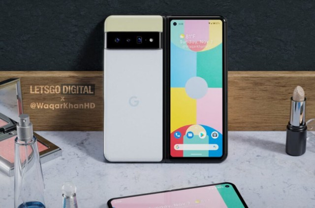 Render of the Google Pixel Fold - Pixel Fold renders surface (VIDEO); Google gets patent for the foldable's hinge