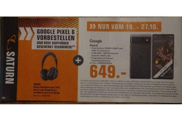 German retailer seemingly confirms Pixel 6 price and pre-order freebie - German retailer reveals Pixel 6 price and pre-order gift