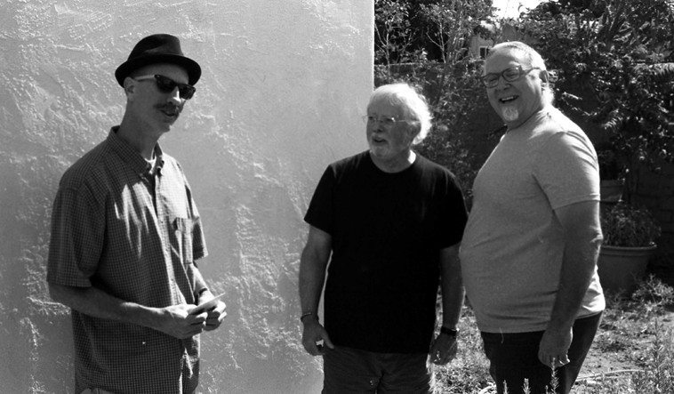 Mark Weaver (tuba & curator of the Roost Music Series), Clyde Reed, Michael Vlatkovich at Studio 725 (my place) -- morning in Albuquerque -- September 22, 2o12 before departure to Santa Fe -- photo by Mark Weber