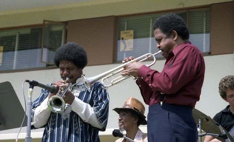 Ooxnokahkee & BB, trumpets; Doc Holliday, conga; Fred Johnson, electric bass; Bobby Bradford Mo'tet --March 28, 1981 -- Claremont Colleges --  (a sextet this day: add: James Kousakis, alto; Newell Canfield, drums; Herb Shon, electric piano) -- photo by Mark Weber