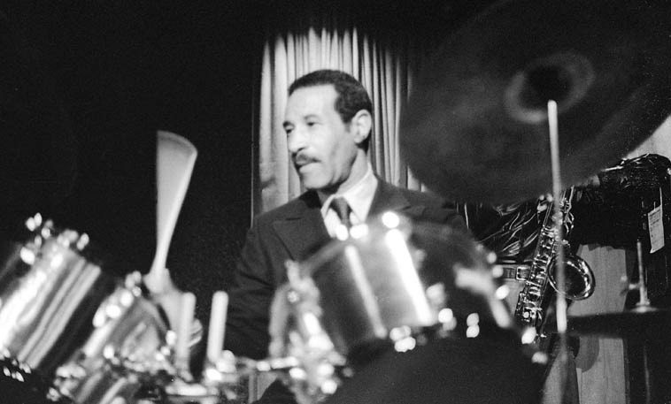 Max Roach ----- January 8, 1977 at Concerts By The Sea, Redondo Beach, California ---- photo by Mark Weber ---- (the tenor saxophonist is Billy Harper)