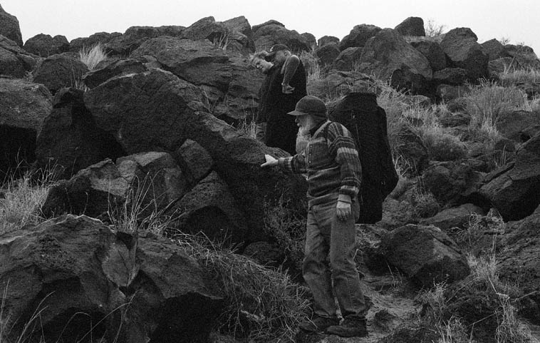 Roswell Rudd, JJ Avenel, John Betsch on our field trip ---- March 20, 2000 -- Piedras Marcadas, West Mesa, Albuquerque -- photo by Mark Weber ----- Roswell brought his trombone and at one point went off by himself to play to the petroglyphs and the old spirits (we could hear him up on the mesa)