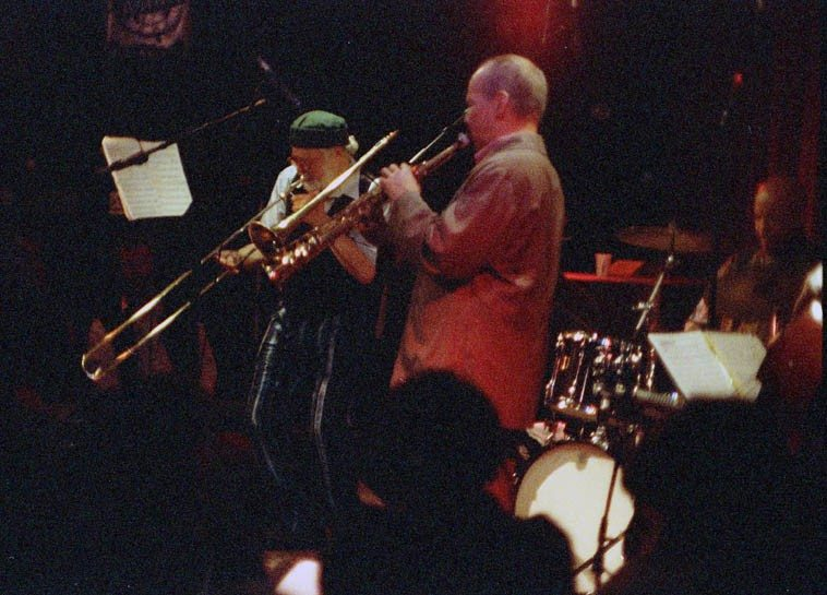 Roswell swoops down under -------- April 6, 1999 --- old Outpost, Albuquerque, New Mexico -- The Roswell Rudd-Steve Lacy Quartet: w/ JJ Avenel & John Betsch -- photo by Mark Weber
