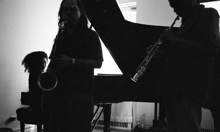 Carol Liebowitz, Will Jhun, Daniel Carter -- August 20, 2o14 -- photo by Mark Weber -- the richness  of jazz and the continuing viability of a scene is revealed in jam sessions