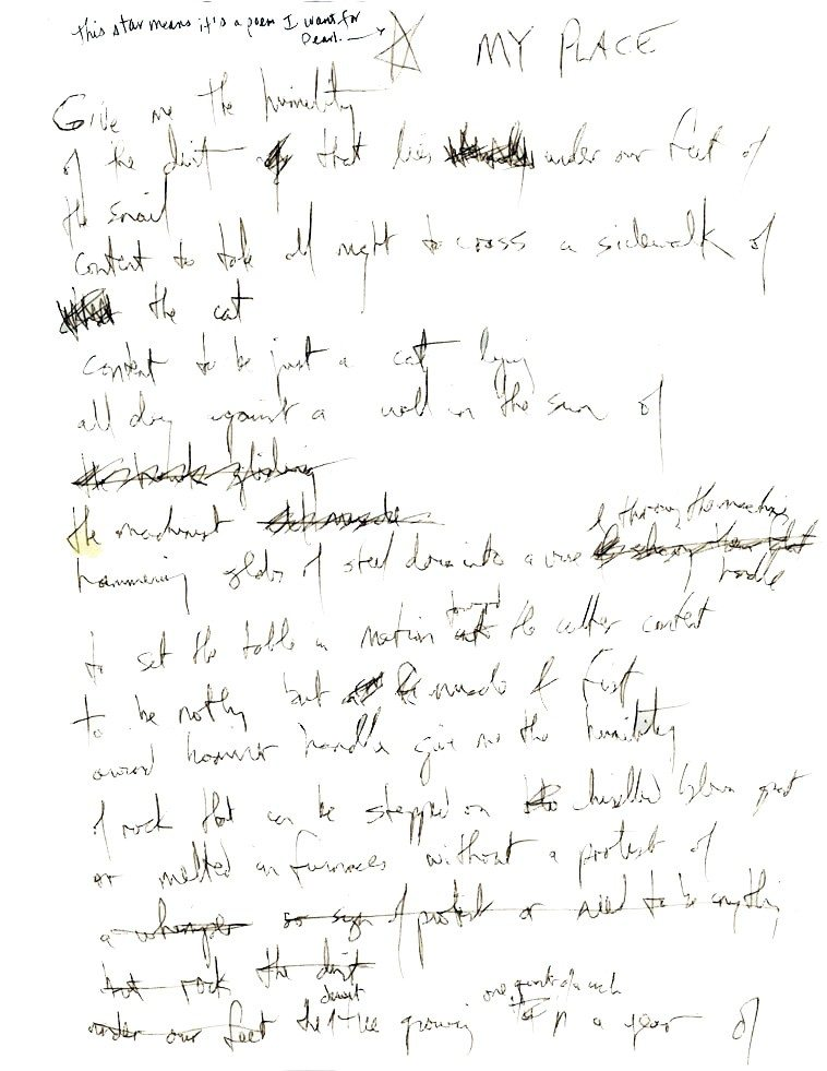 """Pages 1 & 2 original draft of poem """"My Place"""" by Fred Voss -- collection of Mark Weber --  I've had this framed and hanging on the wall in my typing room for years"""