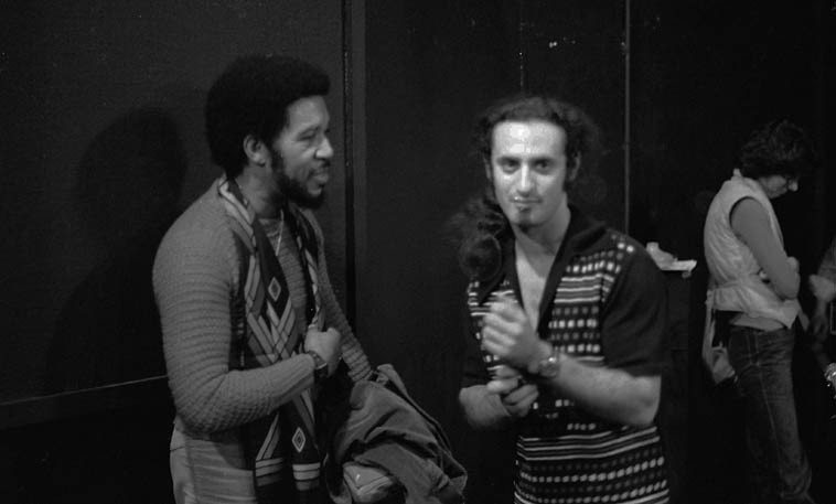 Two great trombonists: Benny Powell and Glenn Ferris -- October 28, 1979 Los Angeles -- photo by Mark Weber