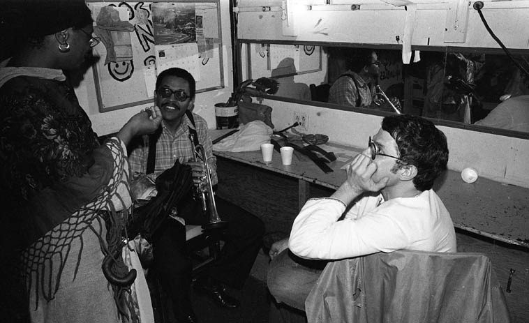 """Bobby Bradford and Charlie Haden backstage before their duo concert  at Century City Playhouse, Los Angeles -- February 17, 1980 -- I actually have an  """"unofficial"""" audience recording of this concert around here somewhere, maybe I'll find  it in time for this radio show . . . . .  photo by Mark Weber"""