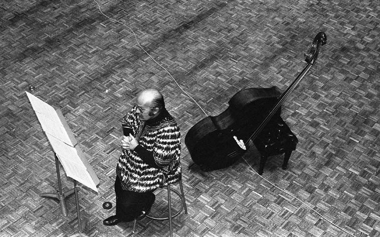 Bertram Turetzky & his wife the flutist Nancy drove up from San Diego for this concert  of solo contrabass + tape + various flutes at the venerable Little Bridges concert auditorium, Claremont Colleges, California -- February 14, 1980 -- photo by Mark Weber -- What could be better on a bleak,  stark, cold, winter morning of snow than to listen to Bertram's Turetzky's 1977 album NEW MUSIC FOR CONTRABASS (Finnadar), you can really see (hear) the lineage that Mark Dresser emerged from (Dresser  studied with Turetzky)