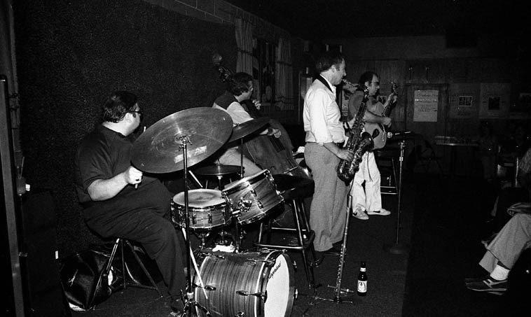 Gordon Brisker Quartet -- April 26, 1981 in Cucamonga, California, on Rt.66 at Gilberto's -- Joe Diorio,  guitar; Dick Berk, drums; Gordon, tenor sax; Bob Maize, bass -- photo by Mark Weber