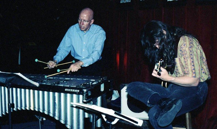 "Chris Allen, vibraphone; and Lewis Winn, guitar ---- Albuquerque & Santa Fe have so many A-List musicians  it's some sort of cultural efflorescence ---- Chris drifted down here from Denver in the mid-to-late 90s  and stayed about 15 years transforming himself into a scientist in the Genome research field (after  having been at Berklee School of Music), we miss him, he went back to Colorado ----  Lewis fell down here  from Montana and is a staggering guitarist of six dimensions -- When I took New Yorker Nick Lyons  to hear Lewis, his eyes bugged out, and I said, ""Didn't I tell you, something else, eh?"" and Nick  said unequivocally: ""A very intuitive player."" ---- May 1, 1998 -- photo by Mark Weber"