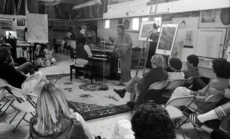 George Cables & Frank Morgan in duet ---- Sunday afternoon in Jack Duganne's studio --  Santa Monica, California -- May 11, 1980 -- photo by Mark Weber