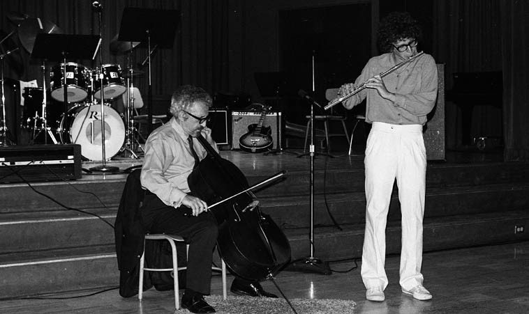Fred Katz in duet with his son Hyman on flute -- Fullerton, California -- May 31, 1979 -- photo by Mark Weber