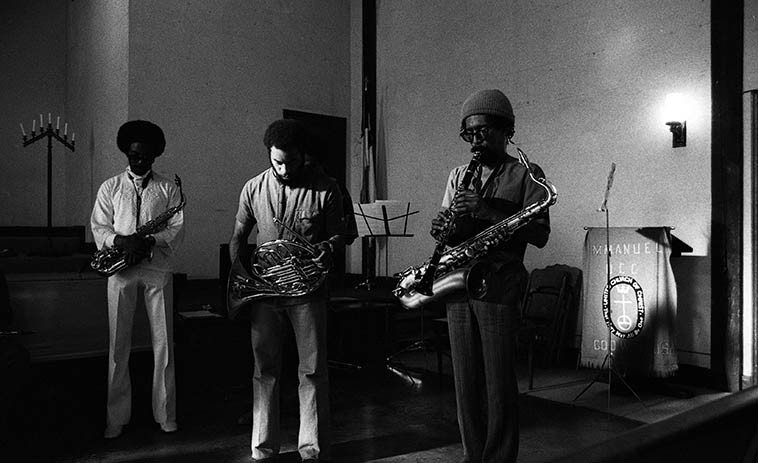 Pan Afrikan Peoples Arkestra:  Ufahamu Uweizi, alto; Fundi Legohn, French horn; Sabir Mateen, tenor & clarinet ---- summer 1980 Los Angeles ---- photo by Mark Weber