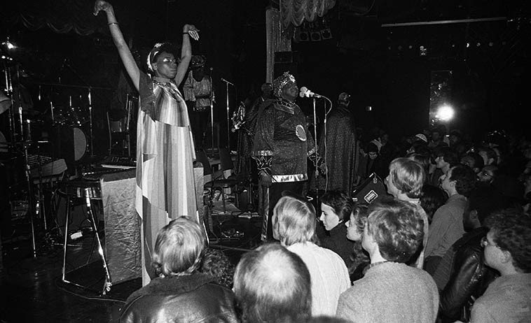 June Tyson & Sun Ra Arkestra -- Club Lingerie -- November 22, 1981 -- photo by Mark Weber ----  *My research assistant John Breckow has discovered that Club Lingerie was known as  Whistlings Hawaii back in 1957 when Ted Brown & Warne Marsh had a group there that year  aka Whistlings Modern Jazz Room, 6507 Sunset Blvd, Los Angeles