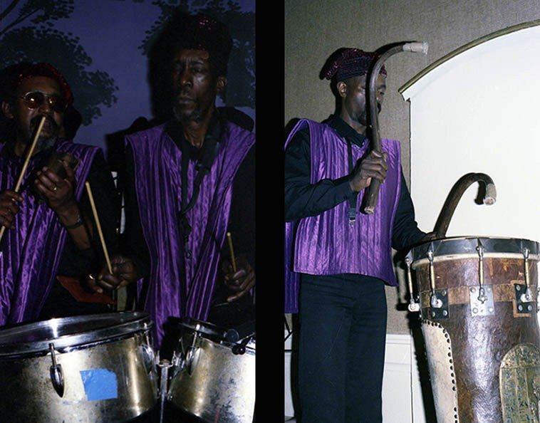 Ronald Wilson, cowbell; John Gilmore, timbales; James Jacson, infinity drum ---- December 4, 1985 -- photos by Mark Weber