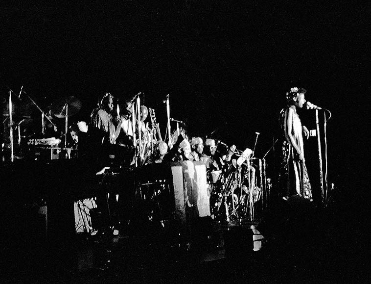 June Tyson in front of Omniverse Arkestra -- April 2, 1981 -- photo by Mark Weber