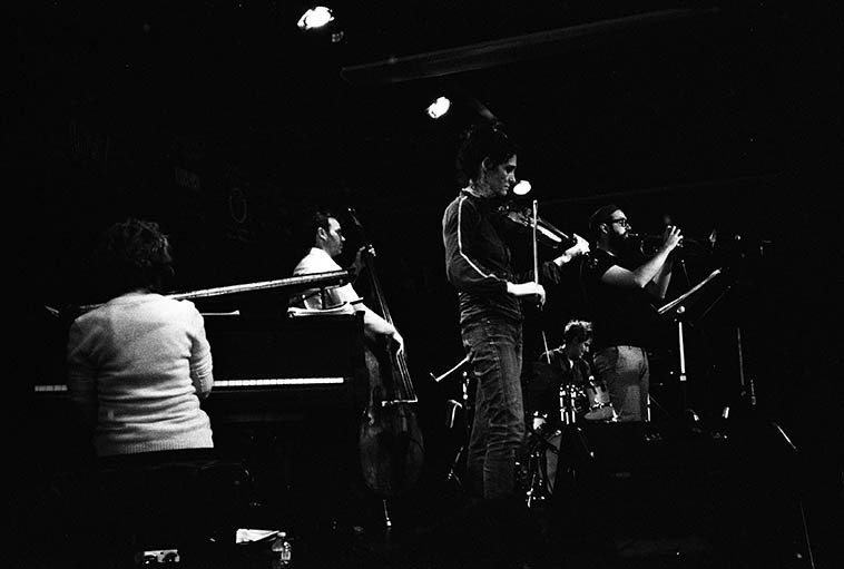 Allison Miller's Boom Tic Boom: Myra Melford, piano; Jenny Scheinman, violin; Kirk Knuffke, cornet; Todd Sickafoose, bass; Allison, drums -- October 9, 2o14 at Outpost Performance Space -- photo by Mark Weber