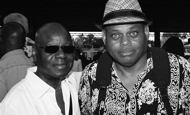 "Fred Jackson & William Roper -- LACMA (Los Angeles County Museum of Art) -- August 14, 2o15 -- photo by Mark Weber ------ William had to fill me in on Mr Jackson: ""That is Fred Jackson, reed player, specializing in lead alto. You have been hearing Fred most of your adult life, backing up many artists, a lot of them of the R&B/Motown variety, but also on many televisions show of yore (like Flip Wilson) and jazz acts. Fred is a jazzman, but like many, he hasn't really led a lot of groups. You won't find much about him on the internet. You really have to nurture an internet presence and he doesn't. He is one of the people I plan to include in my interview series, though he doesn't really do ""out,"" stuff. He is one of those guys that has helped the world to feel as they feel, that no one knows about."""