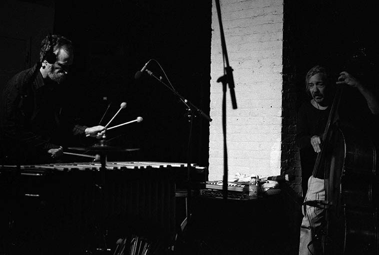 Quartet with Kevin Norton, vibes; Roger Mancuso, drums; Connie Crothers, piano; Ed Schuller, bass -- August 22, 2o14 at The Stone, NYC ---------photo by Mark Weber