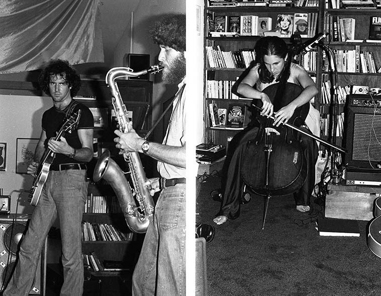 Henry Kaiser (guitar) & Laurel Sprigg (cello) & Henry Kuntz (tenor saxophone) ---- I always loved the album they made ICE DEATH (Parachute Records) -- they were a Bay Area trio that had come down for a few gigs around Los Angeles, these photos were at George Sand Bookstore -- September 24, 1977 ---- photos by Mark Weber ---- On this same tour they played live on John Breckow's KPFK radio show The Big Sleep, and John was not familiar with their thing (very avant -- think Derek Bailey & Evan Parker) so, John had probably just spun a set of Joe Venuti and Bucky Pizzarelli -- I was listening from the comfort of my home ---- He told me later that when they started playing his head spun around four times on his shoulders as he held on to the dials . . . .