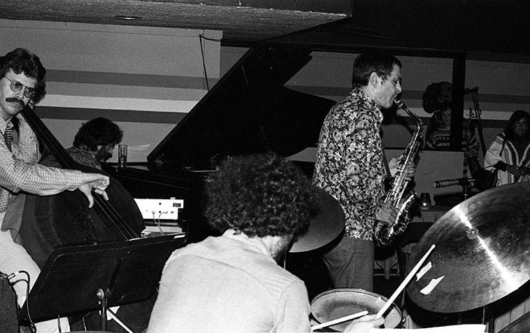 """Art Pepper Quartet at Donte's, North Hollywood ---- April 27, 1977 --- Joey Baron, drums; Bob Magnussen, bass; Milcho Leviev, piano -- photo by Mark Weber ----- Art used to rip a hole in the sky at Donte's playing clear up to 2 o'clock and sometimes beyond, as John Breckow said one night, """"Man, it's like catching lightning in a bottle,"""" that was Art Pepper in the Seventies in Los Angeles, what a party."""