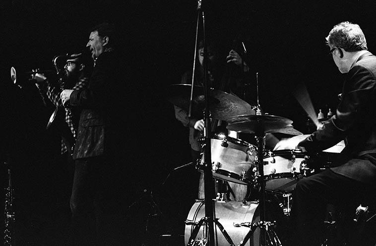 Matt Wilson Quartet -- March 6, 2o14 Albuquerque -- Chris Lightcap, bass; Jeff Lederer, soprano & tenor saxophones; Kirk Knuffke, Monet cornet (that he got from Ron Miles); Matt Wilson, drums -- photo by Mark Weber