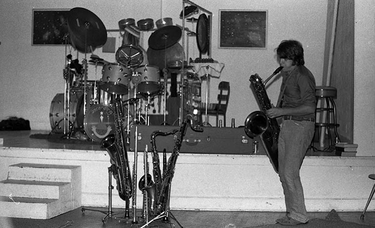 Alex Cline & Vinny Golia in duet at John Carter's Ibedon Festival at Studio Z, Los Angeles -- May 22, 1977 -- photo by Mark Weber