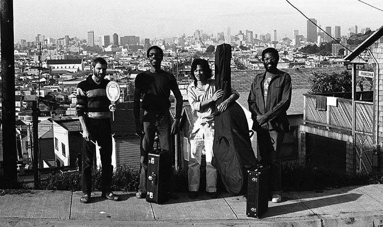 Carl Hoffman, Lewis Jordan, Mark Izu, George Sams: United Front at Carl's place, San Francisco -- February 14, 1981 -- photo by Mark Weber