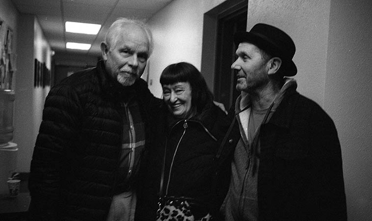 My close friend Sheila Jordan, and she knows why -- at the radio station flanked by Cameron Brown and Tom Guralnick -- March 5, 2o15 Albuquerque -- photo by Mark Weber