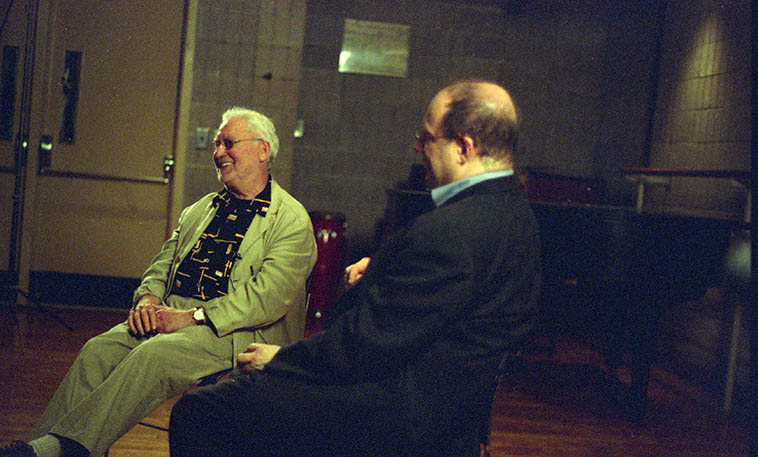 Lee Konitz being interviewed by Loren Schoenberg -- May 8, 2008 Manhattan -- photo by Mark Weber