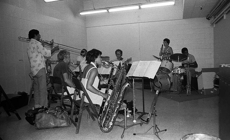 "Jimmy Cleveland Octet at Local 47 rehearsal rooms ---- photo by Mark Weber -- July 31, 1980 -- Jimmy Cleveland (trombone), Janet Cleveland (vocal), Jackie Kelso (tenor), Lanny Morgan (alto), Jim Hughart (bass), Fostina Dixon (bass clarinet & baritone sax), Ray Knehnetsky (piano & arranger), Tim Pope (drums), Bob Ojeda (trumpet) ------------ Jimmy was the coolest guy, I was hanging around the union hall that day just visiting and up drives Jimmy & Janet and I asked if I could attend the rehearsal and he said, ""Yeh, hell yeah, come on!"""