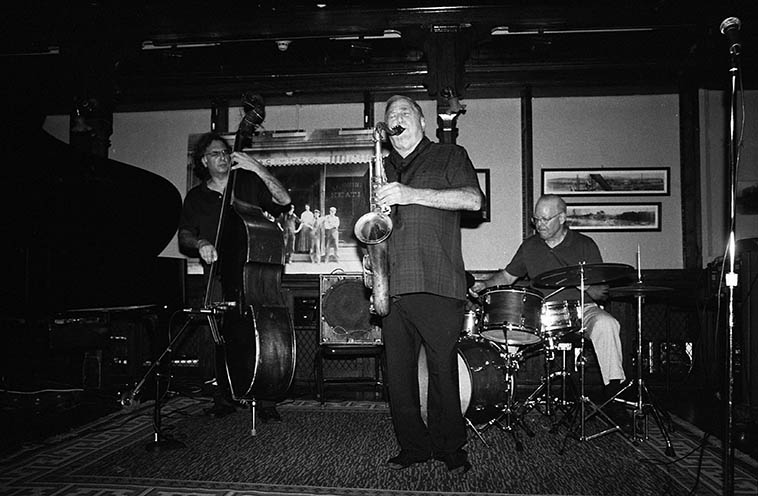 "Kazzrie Jaxen Quartet upstate NY ---- August 24, 2o14 -- photo by Mark Weber -- Bill Chattin (drums), Charley Krachy (tenor), Don Messina (bass) it's Don's birthday this day (b. April 21, 1955 which is same as my mom's and my ""half-birthday"") We'll play some of the recordings Don has put his pulse and spirit upon . . . ."