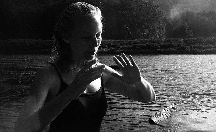 Sunset on the Delaware -- Kazzrie and the river spirit -- Callicoon, New York -- August 7, 2o11 -- photo by Mark Weber
