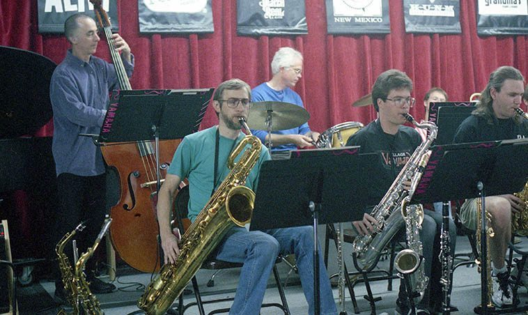 ORJO: Outpost Repertory Jazz Orchestra under the direction of David Parlato (bass) -- Bob Gusch, baritone saxophone -- rehearsal September 22, 1996 Albuquerque -- photo by Mark Weber