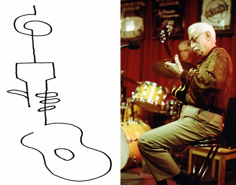 Clyde Hankins (1918 - Dec. 18, 2oo6) Born in Texas, grew up in San Diego, worked with Johnny Richards (!) in L.A., lived & played in Albuquerque since early 60s -- line drawing & photo by Mark Weber -- March 31, 1997 -- Seems my conversations with Clyde always revolved around how much he loved to operate big earth movers and Catapillar D9s -- He was a lightning fast guitarist ---- If you know only one thing about Johnny Richards, you know he wrote the masterpiece CUBAN FIRE! for Kenton in 1956 -- an indispensable jazz album of the West Coast