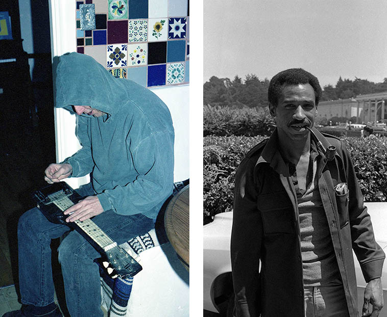 Two lap steel cats: J.A. Deane (aka Bubba D) at Studio 725 (my kitchen) March 9, 1997 and Freddie Roulette in Golden Gate Park, San Francisco, August 11, 1979 -- photos by Mark Weber