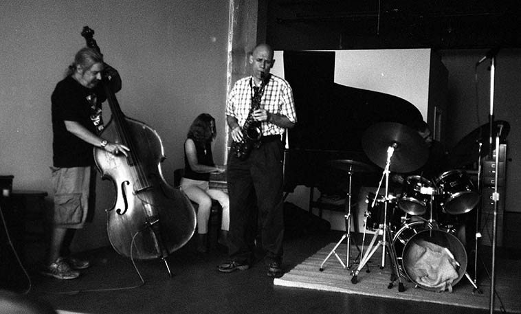Session at Connie Crother's loft in Williamsburg NYC -- Ed Schuller, bass; Connie, piano; Richard Tabnik, alto; Roger Mancuso, drums -- August 24, 2o12 -- photo by Mark Weber